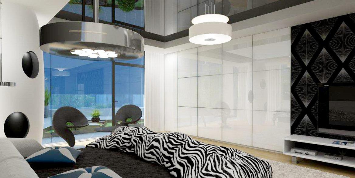 Schlafzimmer mit schwarzer Hochglanz Lackspanndecke