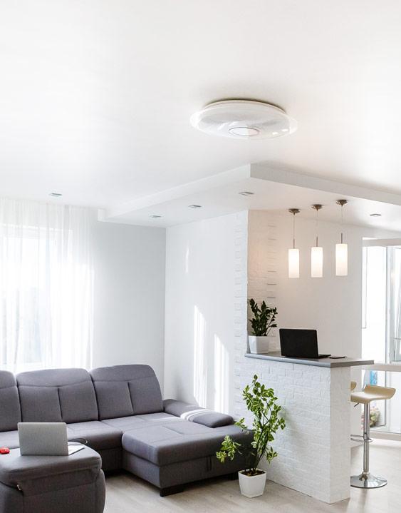Helles Wohnzimmer mit weißer Spanndecke