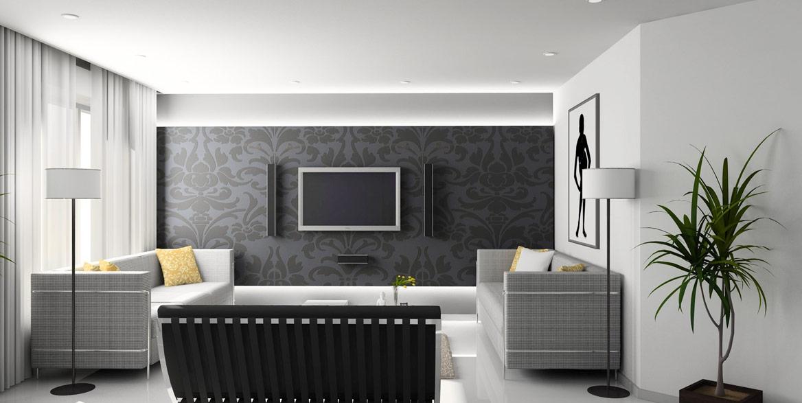 Modernes Wohnzimmer mit Spanndecke und integrierter Beleuchtung